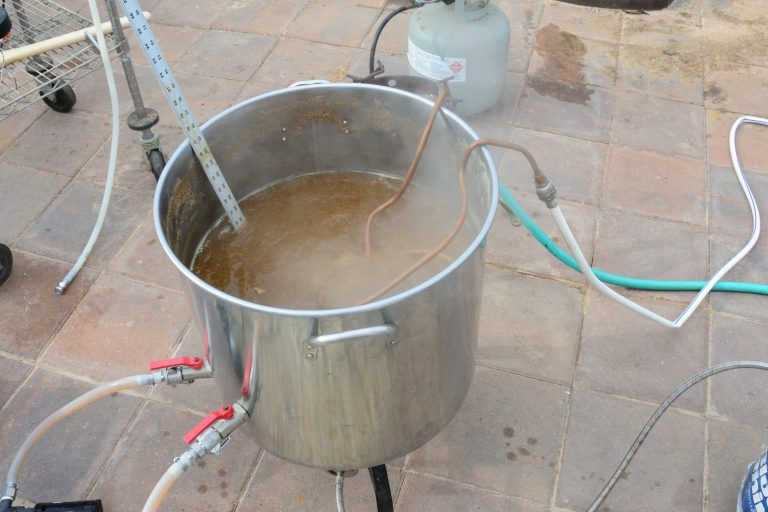 picture of immersion chiller in wort