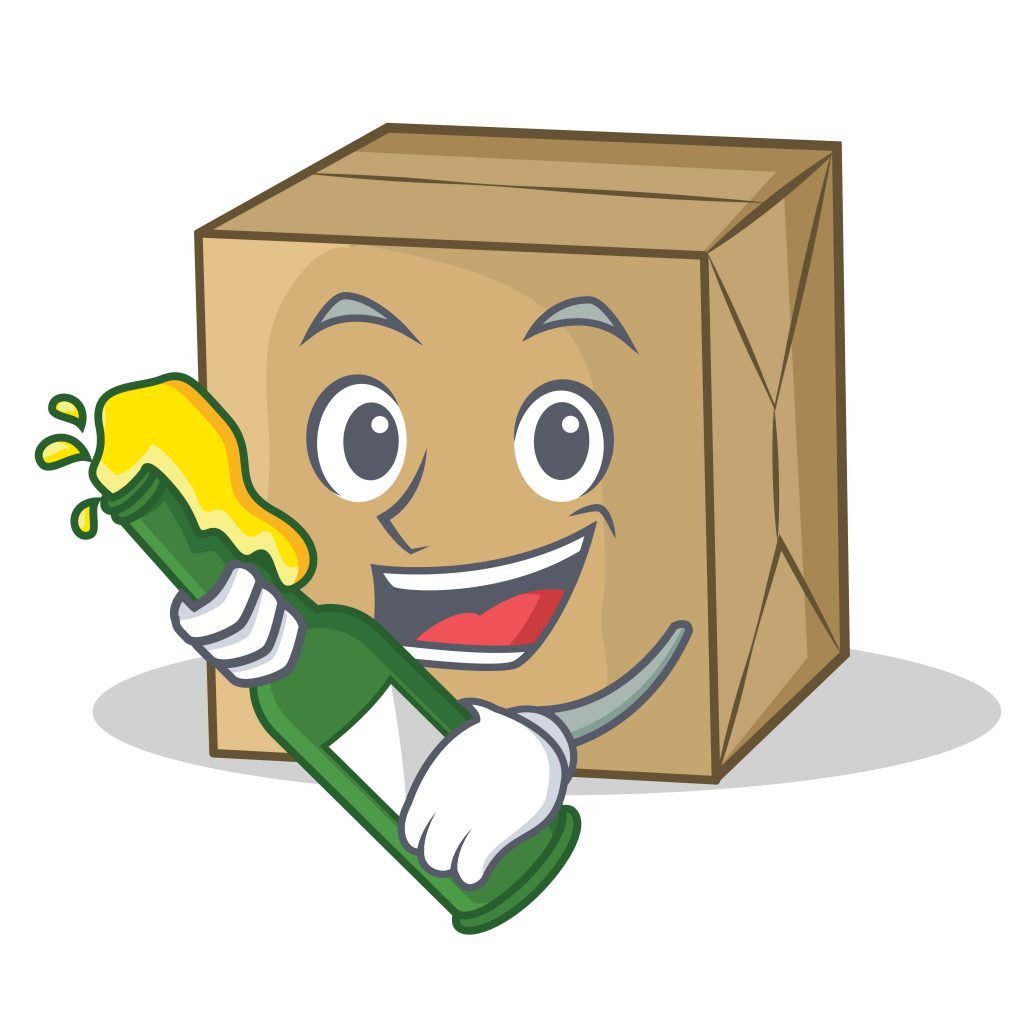 picture of a box with a bottle and happy face
