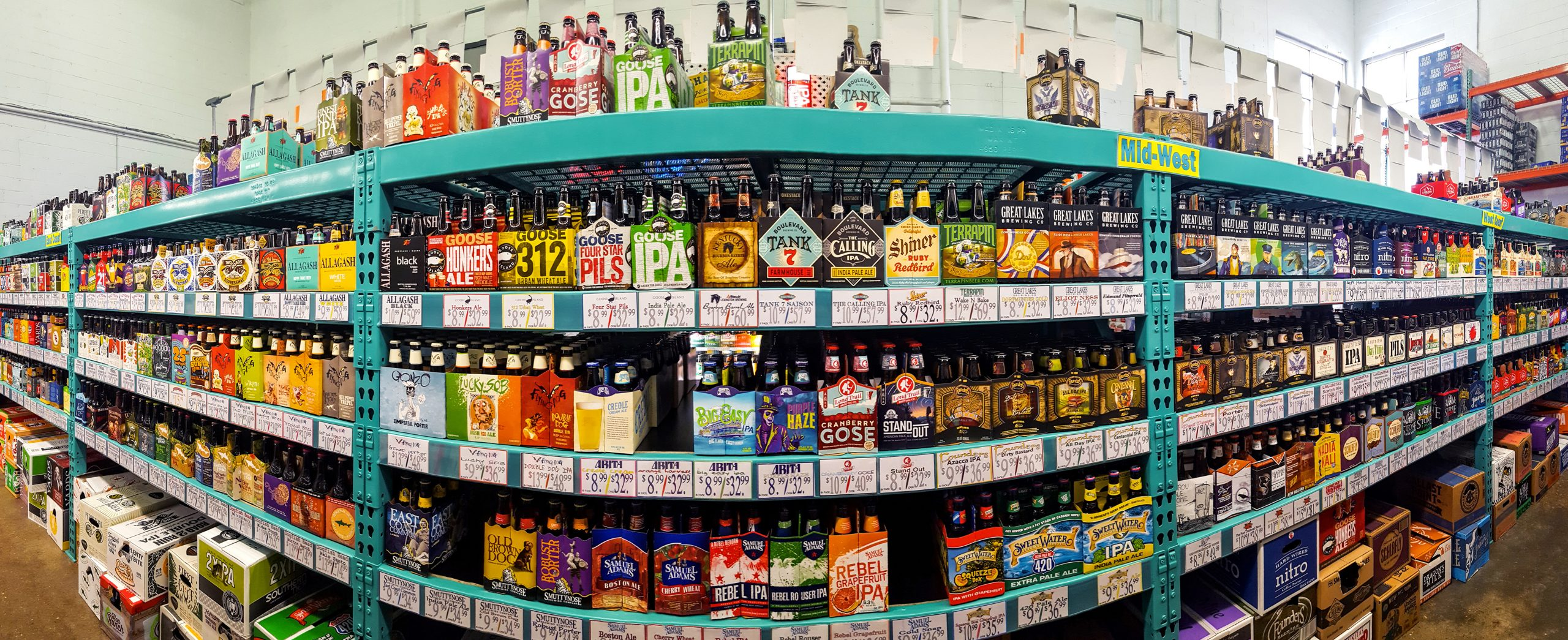 craft beer isle in liquor store