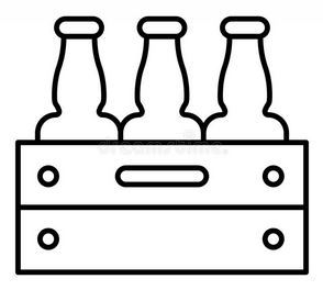 beer bottle and crate thin line vector drawing