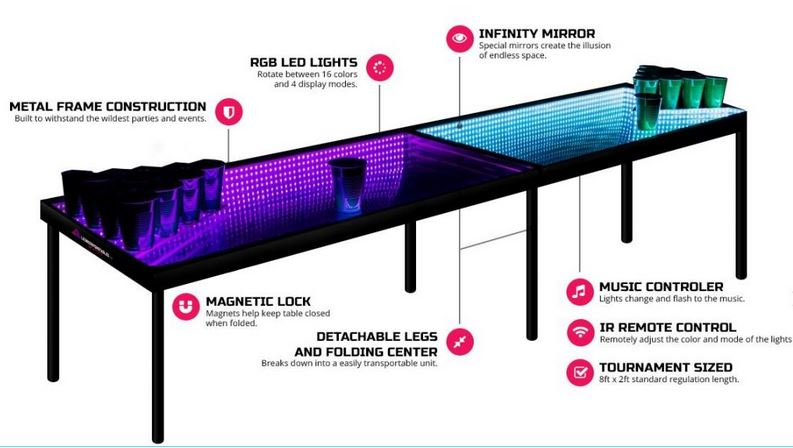 infinity illuminated beer pong table