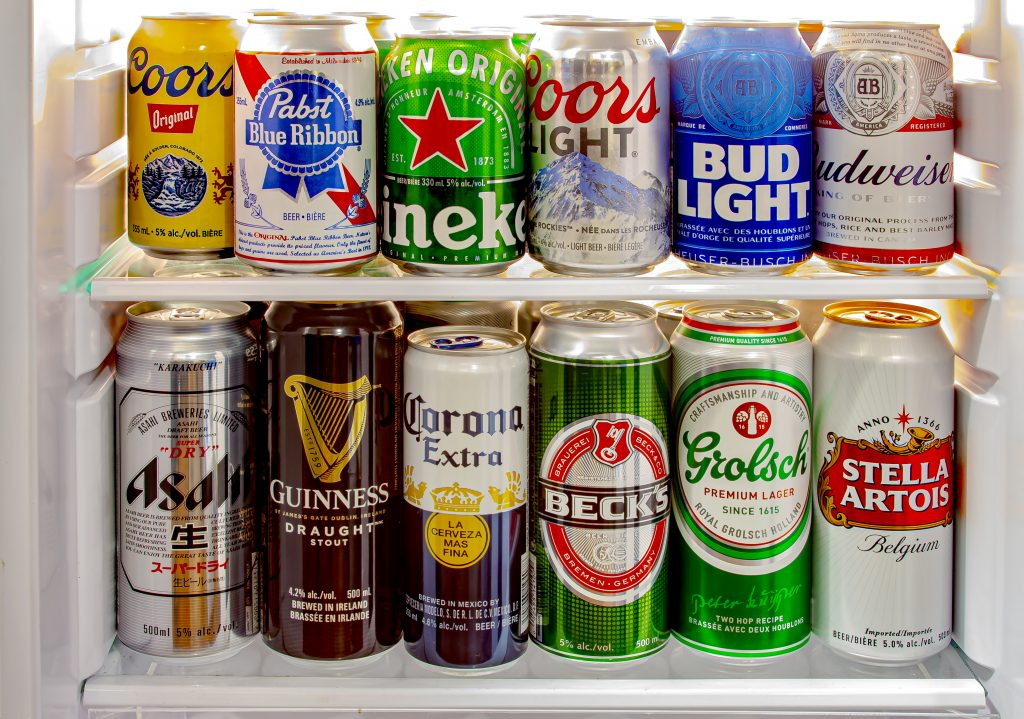 beer cans in a mini fridge
