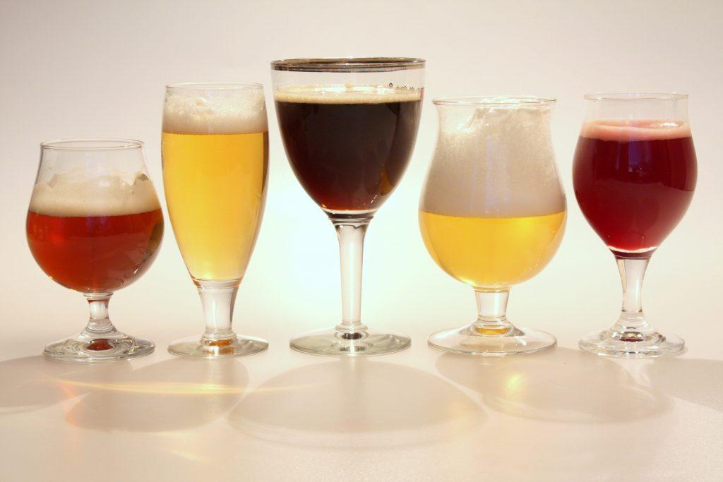 belgian beer in different glasses