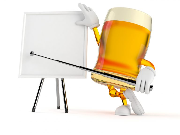 glass of beer character with white board
