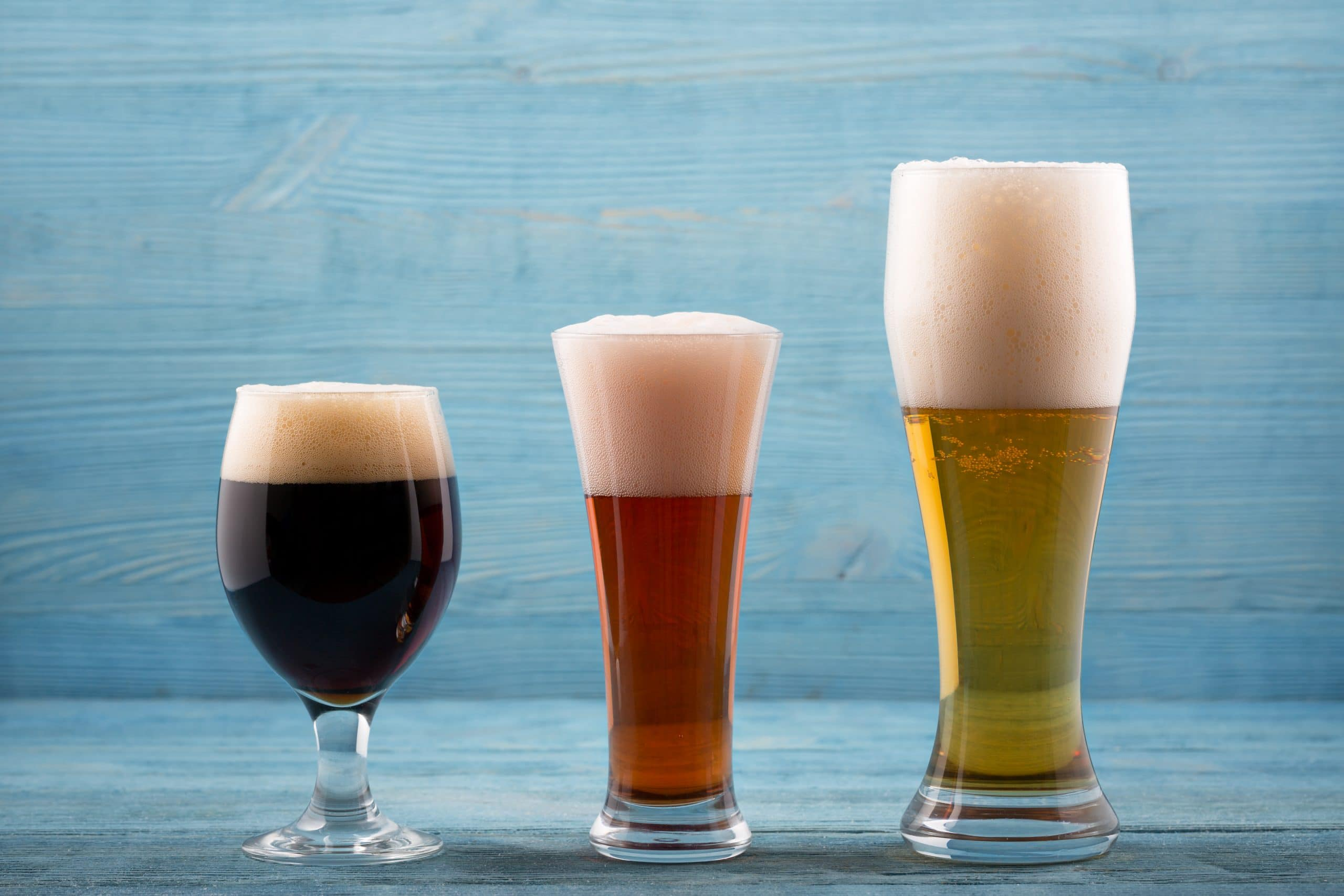 three different types of beer