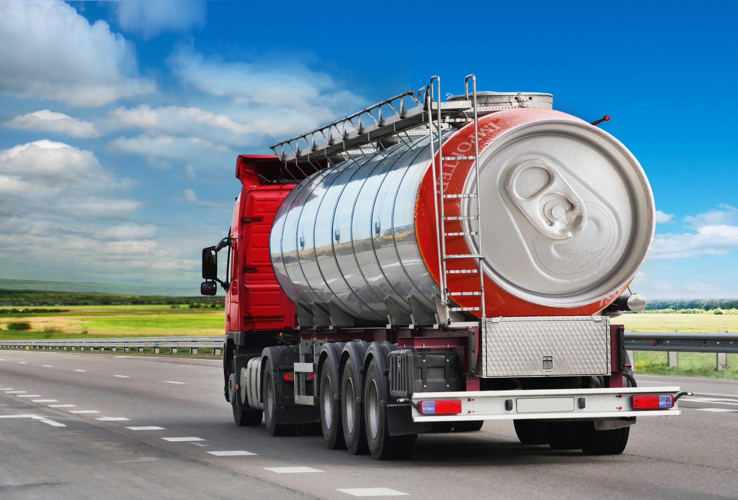 tanker truck with beer can